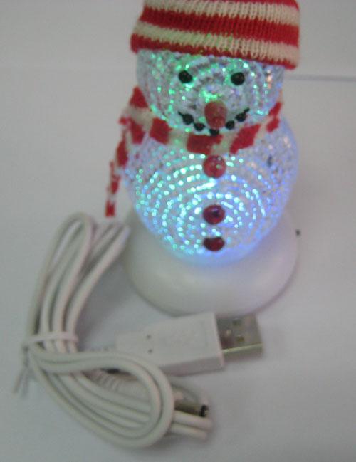 USB LED Flash Colorful Light Christmas Crystal Snowman
